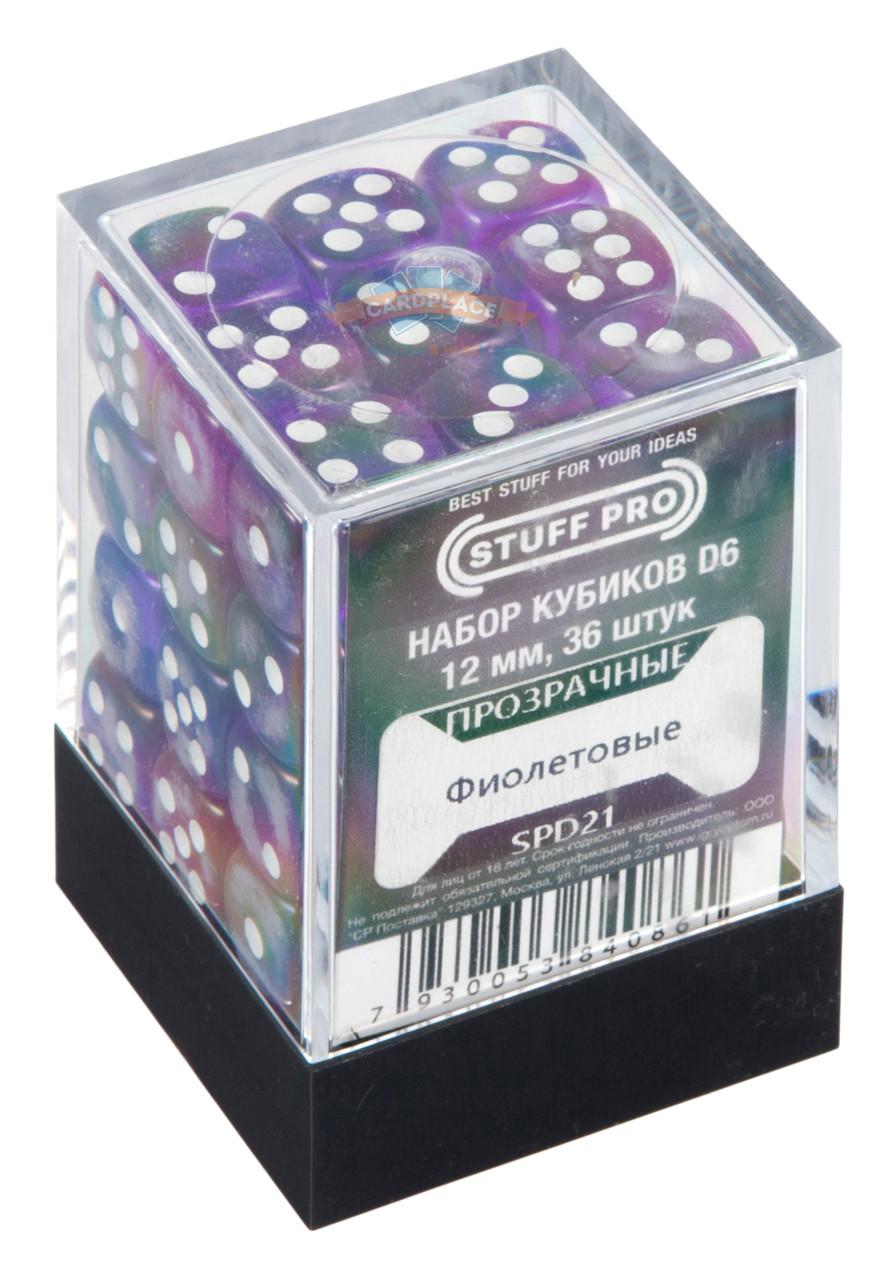Набор кубиков STUFF PRO D6 под мрамор. Красные-12 мм. 36 шт.