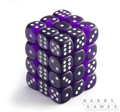 Набор кубиков STUFF PRO D6. Прозрачные фиолетовые-12 мм. 36 шт.