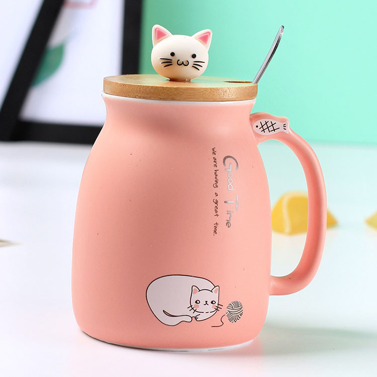 """Цветная Кружка """"Котик"""" с деревянной крышкой (Розовый)"""