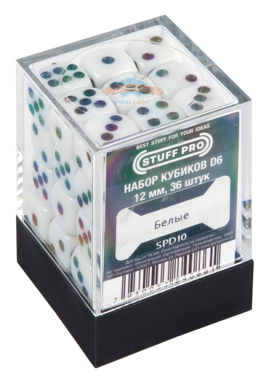 Набор кубиков STUFF PRO D6. Белые-12мм. 36 шт.