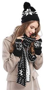 Комплект шарф + шапка + метенки, зимний