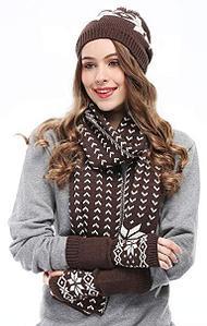Комплект: шарф, шапка и метенки (Коричневый)