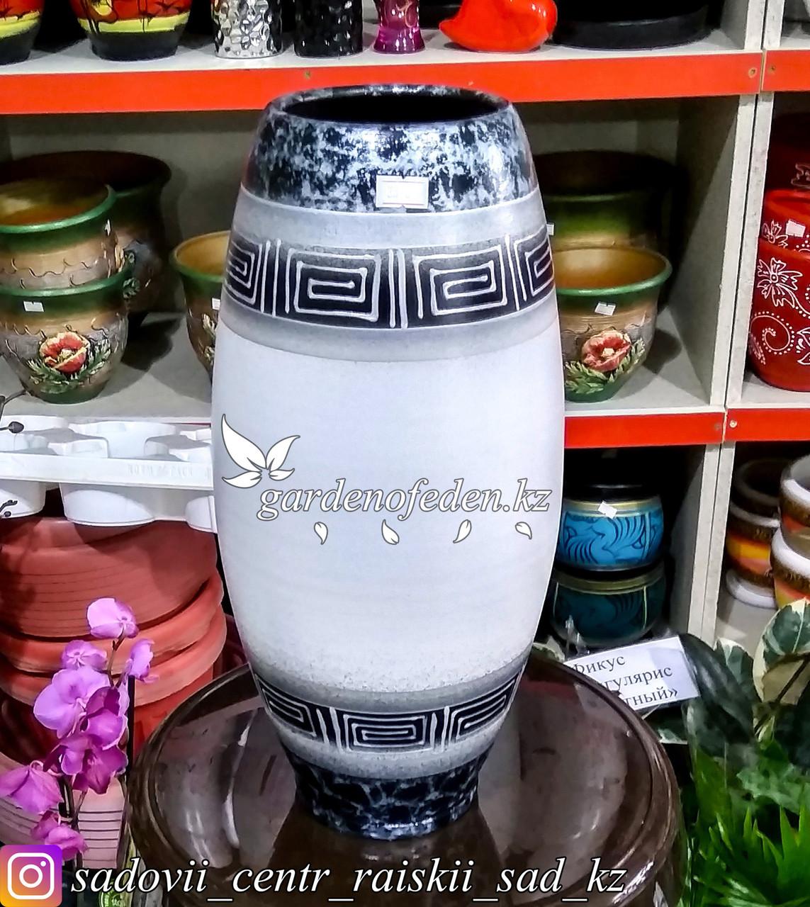 """Керамическая ваза """"Орнамент на белом"""" 30см"""