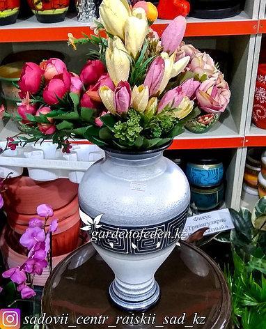 """Керамическая ваза """"Орнамент на белом"""" 25см, фото 2"""