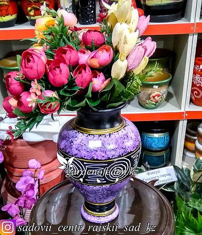 """Керамическая ваза """"Сиреневый с узором"""" 25см, фото 2"""