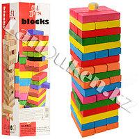 """Настольная игра """"Дженга"""" 54 цветные деревянные детали с кубиком"""