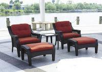 Набор мебели, стол + 2 кресла + 2 пуфа (искусственный ротанг)