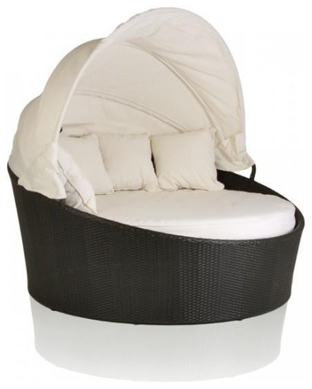Шезлонг-диван из искусственного ротанга с навесом