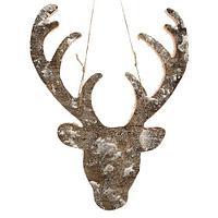 Декор Голова оленя из коры заснеженная 26x34см KA725697