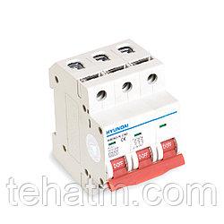 Автоматический выключатель реечный, HYUNDAI, HIBD63-N 3PMCS0000C 3Р 6А, 6kA