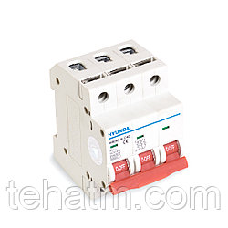 Автоматический выключатель реечный, HYUNDAI, HIBD63-N 3PMCS0000C 3Р 10А, 6kA