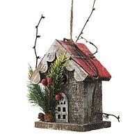 Декор Скворечник 14см деревянный с красной крышей KA550056