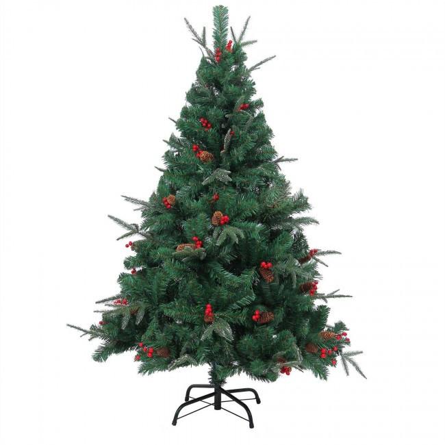 """Новогодняя ёлка """"Ель Эмеральд"""", украшенная сосновыми шишками и ягодами с замороженными кончиками, 120 см"""