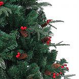 """Новогодняя ёлка """"Ель Эмеральд"""", украшенная сосновыми шишками и ягодами с замороженными кончиками, 150 см, фото 4"""