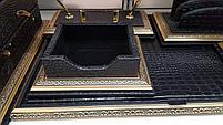 Набор настольный 7 предметов, темно-коричневый, кожа, отделка золотом, Grand, фото 2