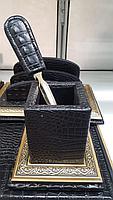 Набор настольный 7 предметов, темно-коричневый, кожа, отделка золотом, Grand, фото 4