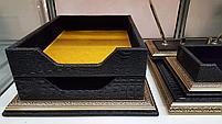 Набор настольный 7 предметов, темно-коричневый, кожа, отделка золотом, Grand, фото 5