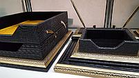 Набор настольный 7 предметов, темно-коричневый, кожа, отделка золотом, Grand, фото 6