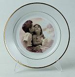 Тарелка белая сублимационная с золотым ободком, фото 2