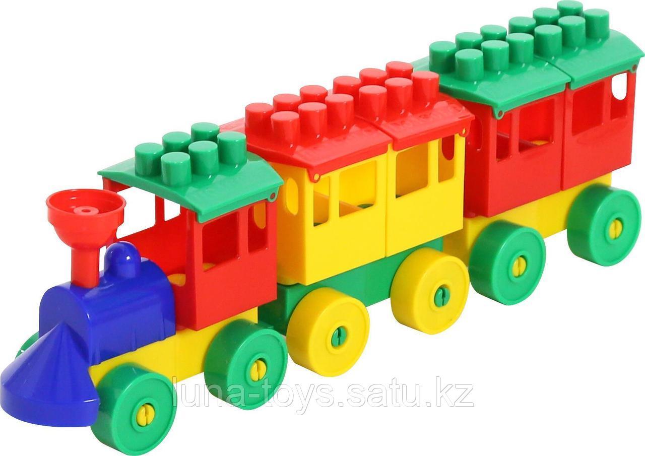 Конструктор-Паровоз с двумя вагонами