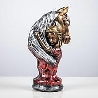 "Статуэтка ""Девушка с конем"", бронза, 36 см, микс"