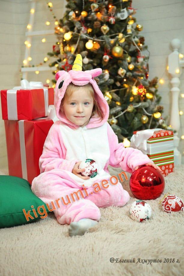 Кигуруми светло розовый единорог детский
