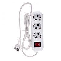 Удлинитель бытовой, с заземлением и выключателем, 2 м, 3 розетки, 10 A, серия УХз10 Denzel, фото 1