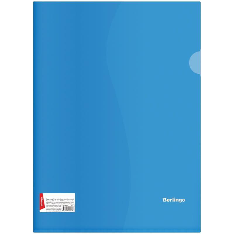 Папка-уголок Berlingo, А4, 180мкм, прозрачная синяя, индив. ШК