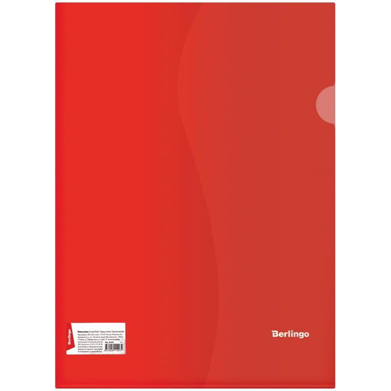 Папка-уголок Berlingo, А4, 180мкм, прозрачная красная, индив. ШК