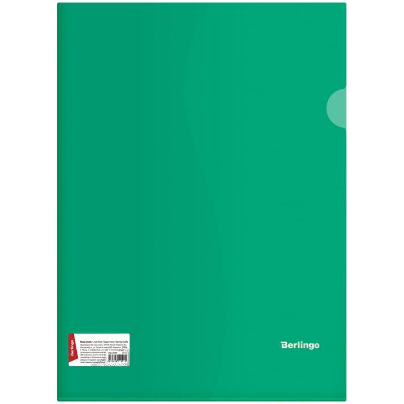 Папка-уголок Berlingo, А4, 180мкм, прозрачная зеленая, индив. ШК