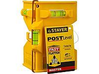"""Уровень-угольник STAYER """"MASTER"""" """"POSTLevel"""" пластмассовый с магнитом, 3 ампулы 3456_z01"""