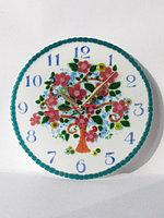 """Часы """"Дерево с цветами"""", выполненые в технике фьюзинг, фото 1"""