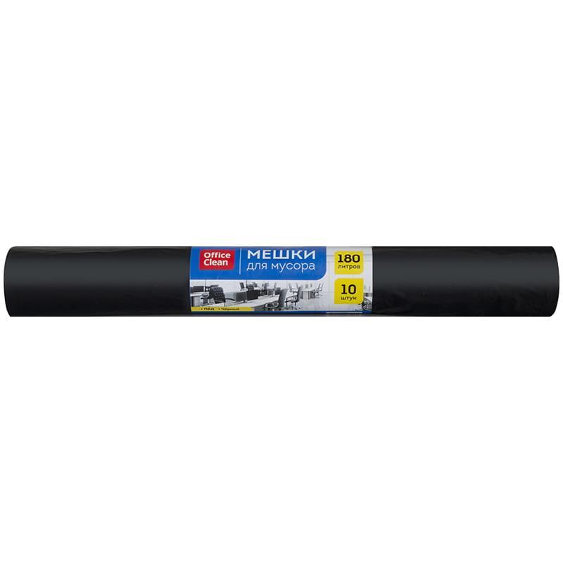 Мешки для мусора 180 л ПВД, 88*106см, 30мкм, 10шт., черные, в рулоне