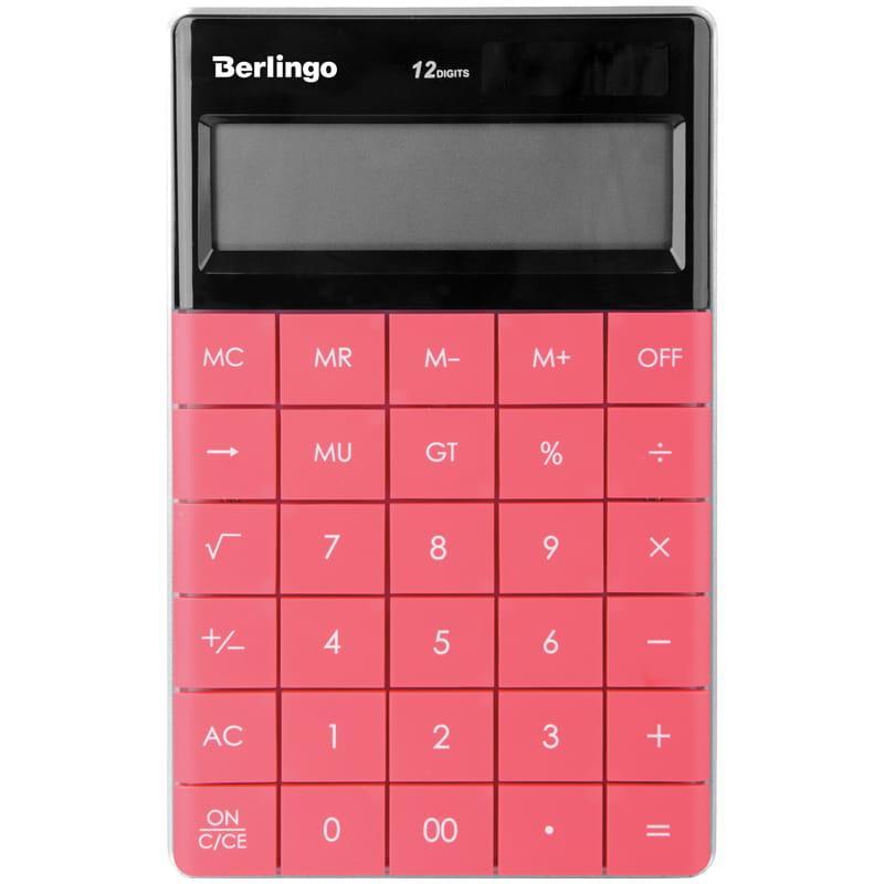 """Калькулятор настольный Berlingo """"Power TX"""", 12 разр.,165*105*13 мм, тёмно-розовый"""