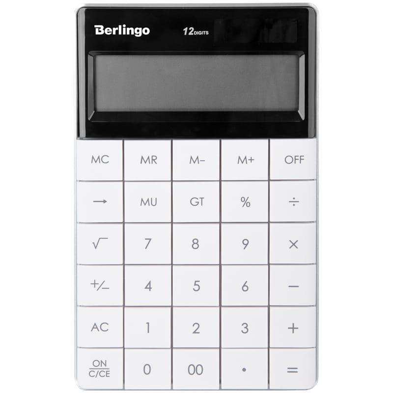 """Калькулятор настольный Berlingo """"Power TX"""", 12 разр., двойное питание, 165*105*13мм, белый"""