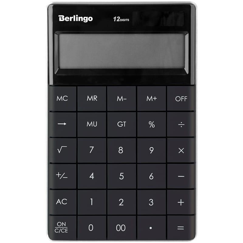 """Калькулятор настольный Berlingo """"Power TX"""", 12 разр., двойное питание, 165*105*13мм, антрацит"""