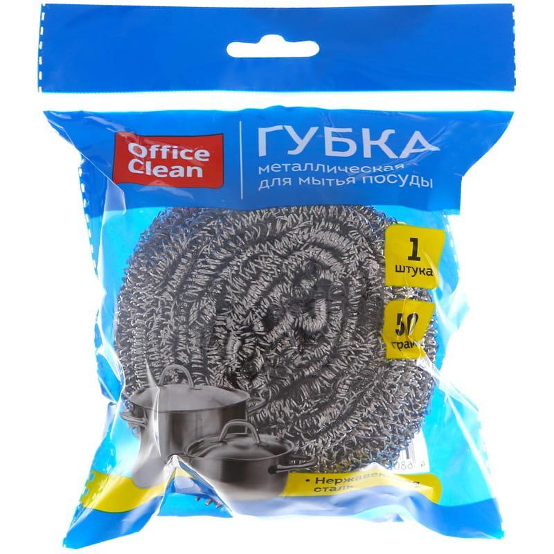 Губка для посуды OfficeClean, большая, металлическая, спиральная, 1шт., 8*7см (50г)