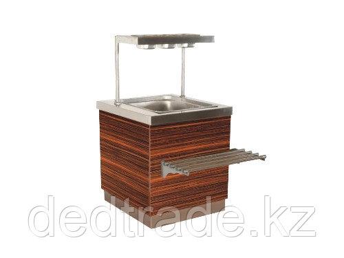 Прилавок для сервисных приборов с декоративным оформлением из нержавеющей стали Размер 700*700*1250 мм