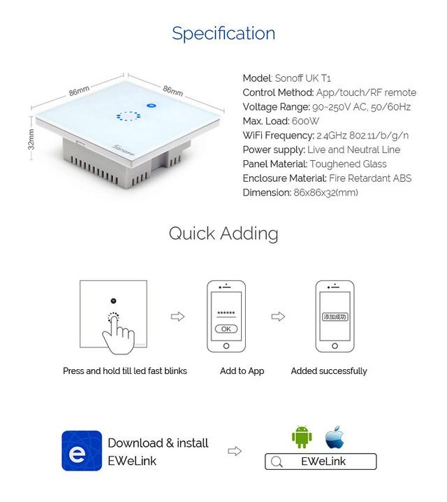 Sonoff T1 UK 1CHWi-Fi сенсорный выключатель подключение к смартфону
