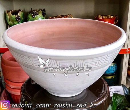 Керамический горшок для цветов. Объем: 5л. Цвет: Белый, узор-орнамент., фото 2