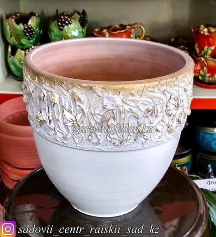 Керамический горшок для цветов. Объем: 5л. Цвет: Белый, узор-золото., фото 2