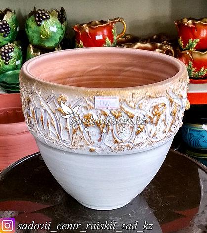 Керамический горшок для цветов. Объем: 1л. Цвет: Белый, узор-золото., фото 2