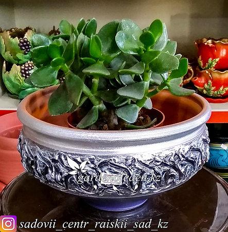 Керамический горшок для цветов. Объем: 2л. Цвет: Серебристо-фиолетовый, узор., фото 2