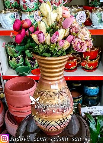 """Керамическая ваза """"Расписной узор на золоте"""" 30см, фото 2"""
