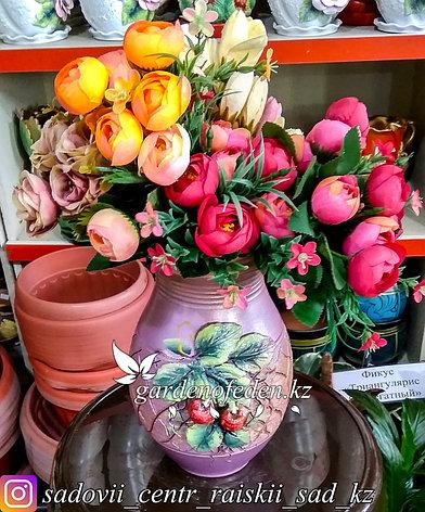 """Керамическая ваза """"Вишневая веточка на лиловом"""" 25см, фото 2"""