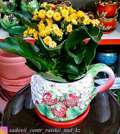 Горшок керамический, декоративный (чашка). Объем: 0.5л. Цвет: Белый, узор-клубника., фото 2