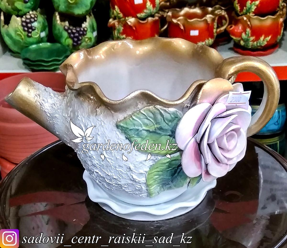 Горшок керамический, декоративный (чайник). Объем: 0.5л. Цвет: Белый с золотом, узор-роза.