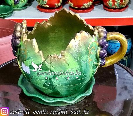 Горшок керамический, декоративный (чашка). Объем: 0.5л. Цвет: Зеленый с золотом, узор-виноград., фото 2