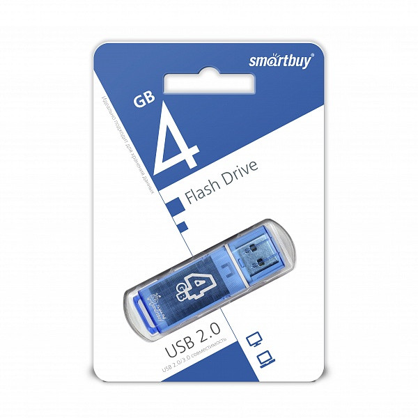 USB накопитель Smartbuy 4GB Glossy series Blue