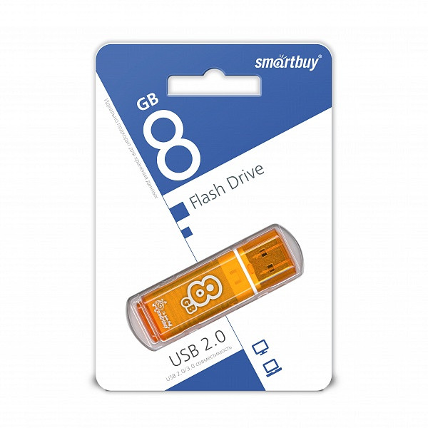 USB накопитель Smartbuy 8GB Glossy series Orange